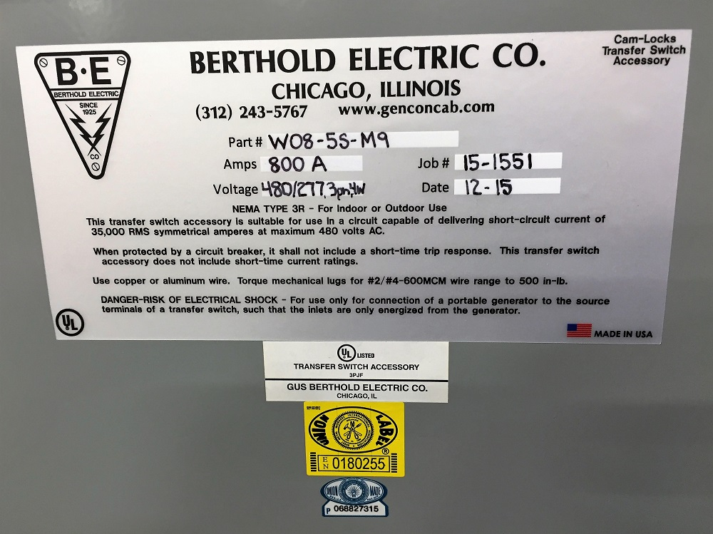 Generator Connection Cabinet Features Berthold Electric